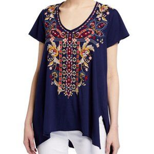 Johnny Was drape Embroidered top